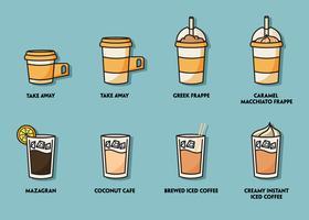 Conjunto de ilustração de café gelado vetor