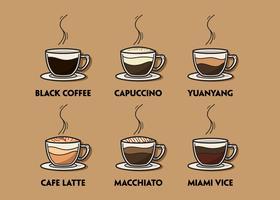 Conjunto de ilustração de café vetor