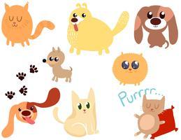 Filhotes de cachorro gatinhos 2 vetores