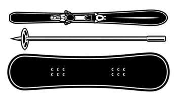 ilustrações vetoriais de um equipamento de esporte de inverno