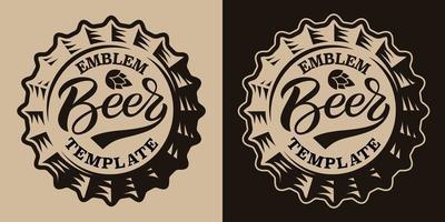 um emblema de cerveja vintage em preto e branco com uma tampa de cerveja vetor
