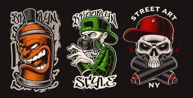 conjunto de ilustrações vetoriais com personagens de graffiti. vetor
