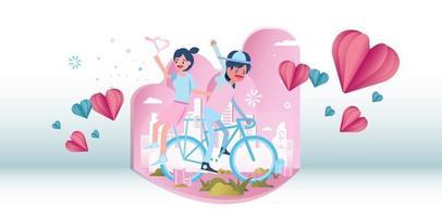 casal jovem bonito andando de bicicleta juntos.