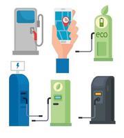 coleta de postos de gasolina para carros elétricos vetor
