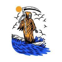 design de verão praia grim reaper vetor