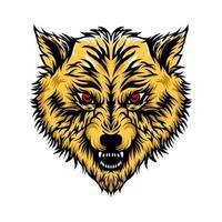 mascote cabeça de lobo vetor