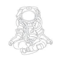 ilustração vetorial desenhada à mão de astronauta ioga vetor