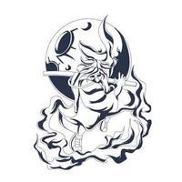 arte de ilustração de samurai legal com tinta vetor