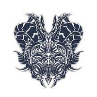 máscara de dragão com tinta arte de ilustração vetor