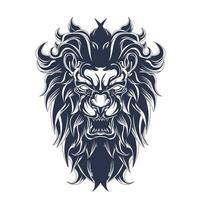 arte de ilustração de leão bravo com tinta vetor