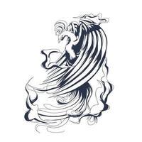 arte de ilustração phoenix com tinta vetor
