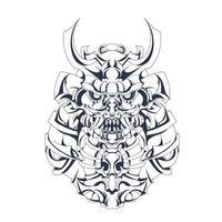 arte de ilustração mecha japão ronin com tinta vetor