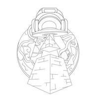 ilustração vetorial desenhada à mão da pirâmide ufo vetor