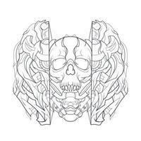 ilustração vetorial desenhada à mão de crânio de mecha escuro vetor