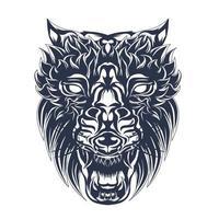 arte de ilustração de lobo com tinta vetor