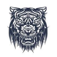 arte de ilustração de tigre com tinta vetor