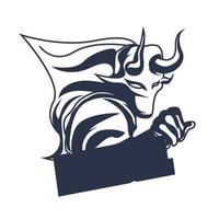 Logotipo do mascote dark bull pintando a arte da ilustração vetor