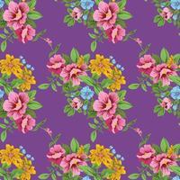 flor vintage bonito sem costura padrão floral vetor