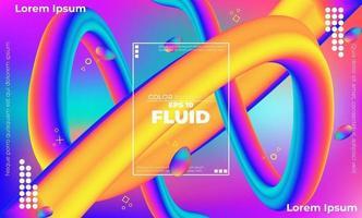 padrão de cor fluida abstrato de fundo gradiente líquido de cor neon com estilo de movimento dinâmico geométrico moderno adequado para papel de parede, banner, plano de fundo, cartão, ilustração de livro, página de destino, vetor