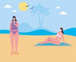 mulheres em trajes de banho, usando máscaras faciais na praia