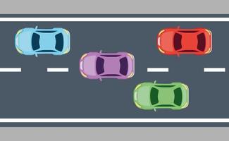 vista superior de carros sedan na estrada vetor