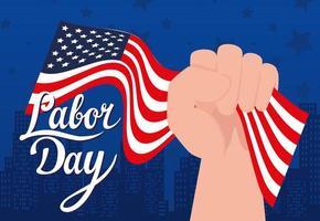 banner de celebração de feriado do dia do trabalho feliz com bandeira dos EUA vetor