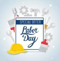 banner publicitário de promoção de venda do dia do trabalho com ferramentas e capacete vetor