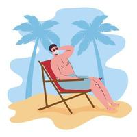 homem tomando banho de sol com máscara facial na praia