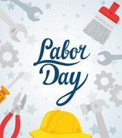 banner de celebração de feriado do dia do trabalho feliz com ferramentas e capacete vetor
