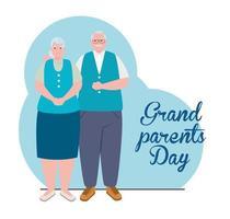 banner de celebração do feliz dia dos avós com um lindo casal de idosos