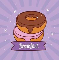 deliciosos donuts doces, pastelaria e conceito de padaria vetor