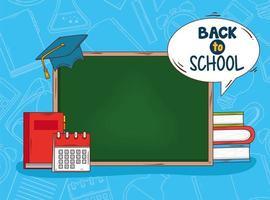 faixa de volta às aulas com quadro-negro e material escolar vetor