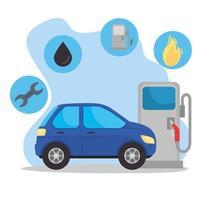 carro no posto de gasolina com ícones de óleo vetor