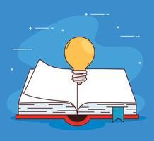 conceito de educação um livro aberto com lâmpada vetor
