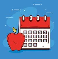 lembrete de calendário com maçã em fundo azul vetor