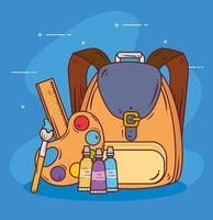 mochila escolar com paleta de cores e ícones vetor