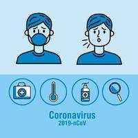 Pandemia de coronavírus banner pessoas doentes e ícones