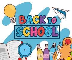 faixa de volta às aulas com material escolar