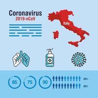 banner de pandemia de coronavírus com mapa da Itália e médicos