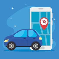 carro com smartphone usando app gps vetor