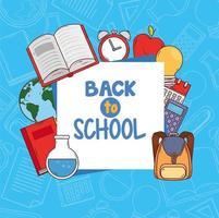 faixa de volta às aulas com material escolar vetor