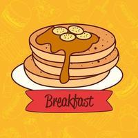 deliciosa panqueca com calda, conceito de café da manhã vetor