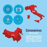 banner da pandemia de coronavírus com mapas da itália e da china