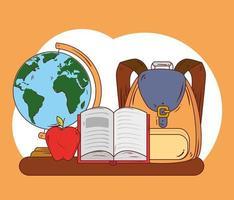 ícones de conceito de educação, bolsa escolar fofa, livro aberto, maçã e planeta vetor