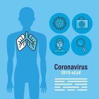 banner de pandemia de coronavírus com silhueta corporal e ícones