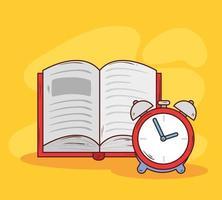 despertador com livro aberto vetor