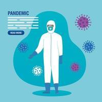 profissional de saúde em um traje anti-risco para modelo de banner de pandemia de coronavírus vetor