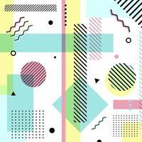 padrão geométrico abstrato da cor dos pastéis. estilo de memphis em fundo branco. vetor