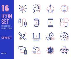 conjunto de 16 ícones relacionados à conexão, estilo de linha fina