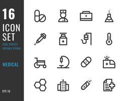 conjunto de 16 ícones médicos, estilo de linha fina vetor